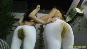 Scat Domination White Scat Pants – 2 Domina 1 Slave (SG-video.com) FHD-1080p